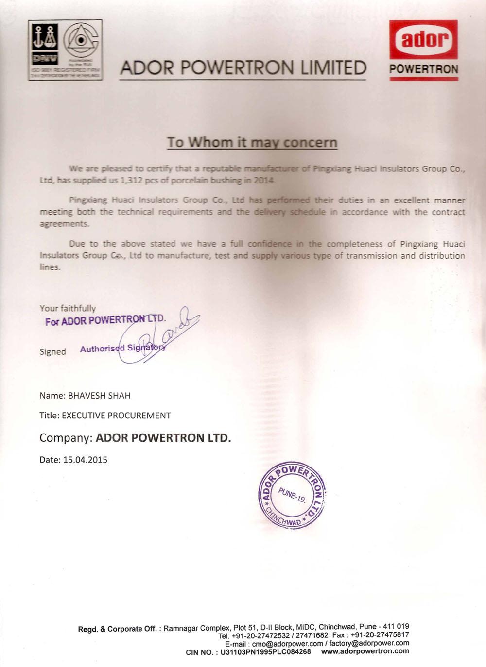 India Ador Powertron Limited